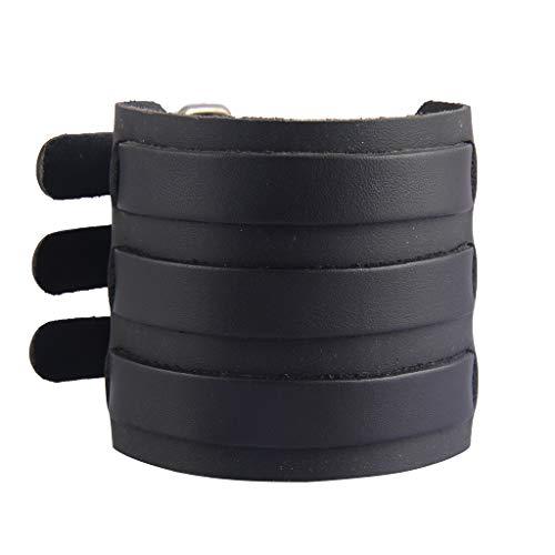 AZORA Punk Leather Cuff Bracelet Adjustable Wide Leather Belt Bracelets Arm Cuff Gothic Leather Wristbands Rock Jewelry for Men, Boy, Women