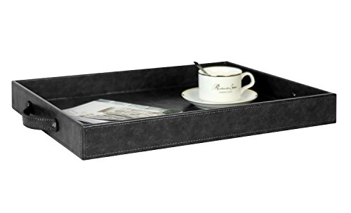 Beautiful Rectangular Serving Tray with Handles, Breakfast Ottoman Tray For All Occassion's, PU leather, Dark Grey, 17.7 x 13.8 x 2 inches by Ms.Box