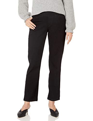 Chic Classic Collection Women's Easy Fit Elastic Waist Pull On Pant, Black Denim, 12