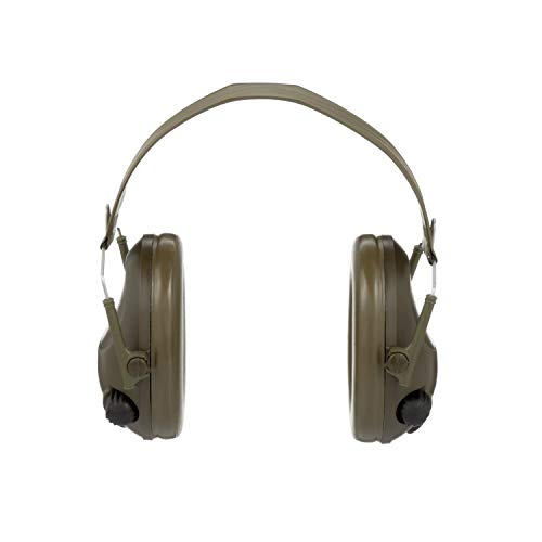 (3M Peltor Tactical 6-S Slim Line Electronic Headset with Audio Input Jack, Olive Green, Hearing Protection, Ear Protection, NRR 20 dB, Great for hunters and shooters)
