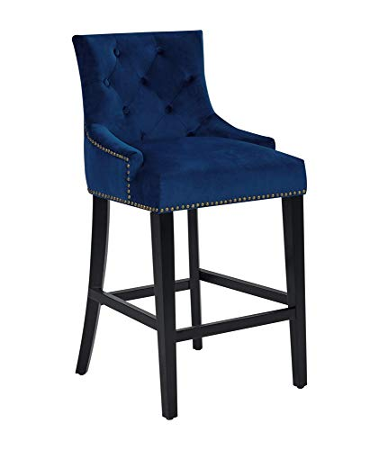(Iconic Home FCS9439-AN Lyric Counter Stool Chair Button Tufted Velvet Upholstered Nailhead Trim Swoop Arm Seat Pull Ring Espresso Finished Tapered Wood Legs Modern Transitional, Navy )