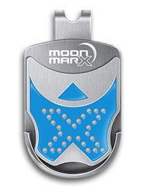 Moonmarx Golf Ball Marker and Putt Aligner with Magnetic Clip (Blue). Patented high quality ball marker made from Stainless Steel. Conforms to USGA standards. 30 Day Money Back - Magnetic Ball Marker