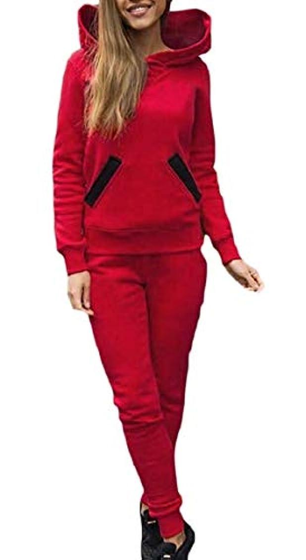 遺棄されたストロークカテナFly Year-JP レディーススウェットスーツファッショントラックスーツセットジョガーパンツ2ピース衣装スウェットスーツ Red US Small