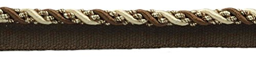 DÉCOPRO 27 Yard Value Pack of Medium 4/16 inch Dark Brown, Sand, Noblesse Collection Lip Cord Style# 0416H Color: Espresso Latte - D2A2 (25 Meters / 81 Ft.) by DÉCOPRO