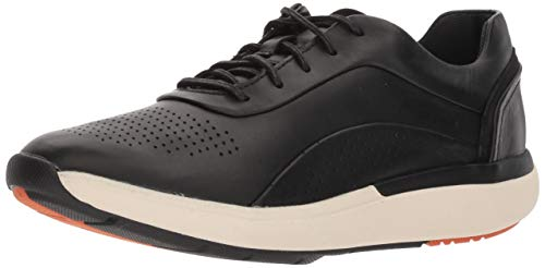 CLARKS Women's Un Cruise Lace Sneaker, Black Leather, 80 M US