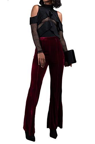 AKIRA Women's Stretch Velour Velvet High Waist Pull On Pleated Front Flare Leg Trouser Pants-Burgundy_S ()