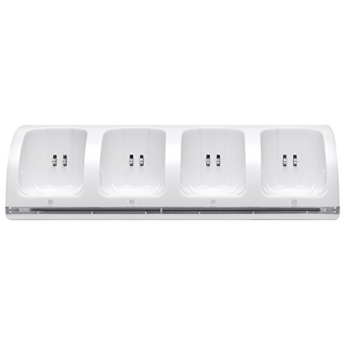Kycola Wii Charging Dock 4 in 1 WK01 Wii Charger with 4 Rechargeable Wii Batteries and LED Light(Fine (Battery Dock)