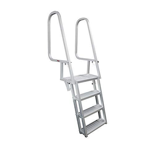 Extreme Max 3005.4122 Silver 6-Step Deluxe Flip-Up Dock Ladder ()