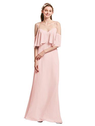 Alicepub Longues Robes De Soirée De Retour À La Maison De Cocktail Demoiselle D'honneur En Mousseline De Soie À Manches Volantées Perle Rose