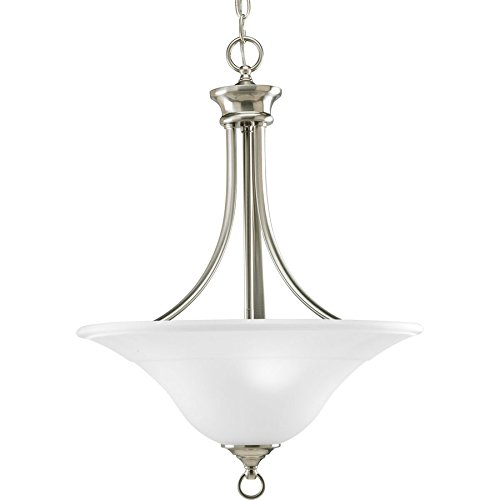 (Progress Lighting Trinity 18-in Brushed Nickel Single Etched Glass Bowl Pendant)