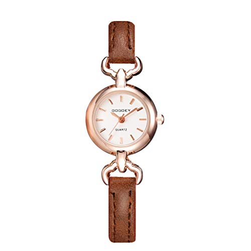 (LUCAMORE Women Simple Watches Leather Strap Round Case Analog Fashion Ladies Watch on Sale)