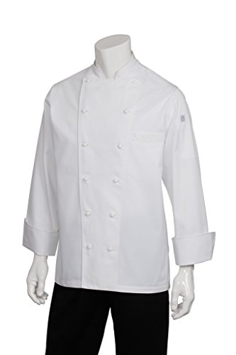 Chef Works Men's Monza Executive Chef Coat, White, X-Large - Executive Chef Coat