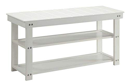 Convenience Concepts Oxford Utility Mudroom Bench, White (Shoe Small Bench White)