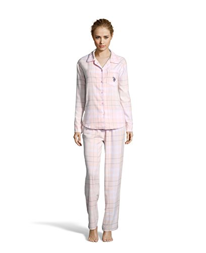 U.S. Polo Assn. Women's 2 Piece Flannel Shirt With Logo and Pajama Pants Sleep Set White-pink Large (Logo Lounge Pants Flannel)