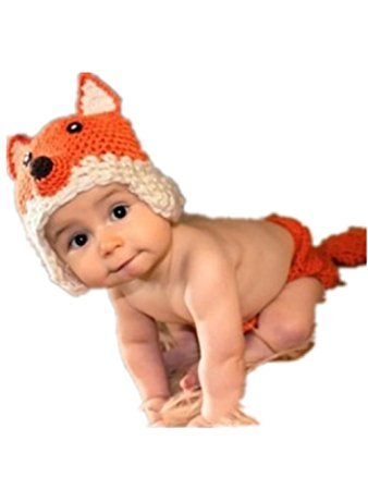 Eyourhappy Newborn Baby Handmade Crochet Knitted Photography Props Fox Hat Diaper Pant Outfit -