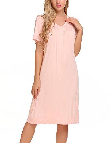 Knee Length Nightgown - Langle Comfort Sleepwear Dress Womens Nighties Soft Nightgown Nightshirt (Pink, Medium)