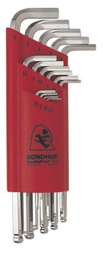 Bondhus 17095 Juego de 15 llaves en L para destornillador de bola con acabado BriteGuard, tamaños 1.27-10mm