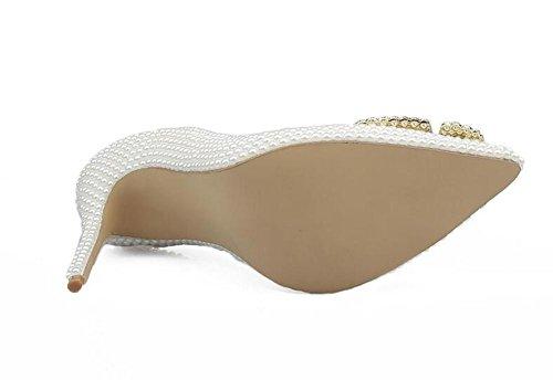 White XIE Blanca Blanca Perla Imitación de de Imitación con Mujer WHITE Alto Zapatos Tacón de 37 39 Punta de Perla waPZwB