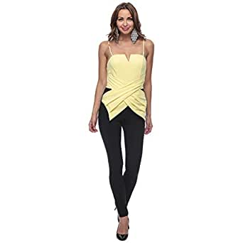 Italia Moda Solid Polyester Jumpsuit for Women - Free Size, Yellow