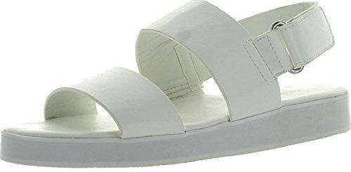 Poppenhuis Dames Sport Witte Enige Dubbele Riem Mode Sandalen Wit Pu