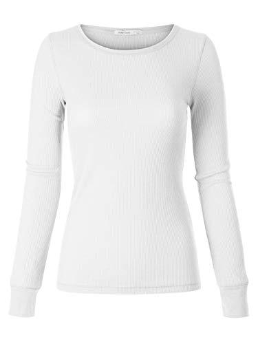Instar Mode Women's Plain Basic Round Crew Neck Thermal Long Sleeves T Shirt Top White -