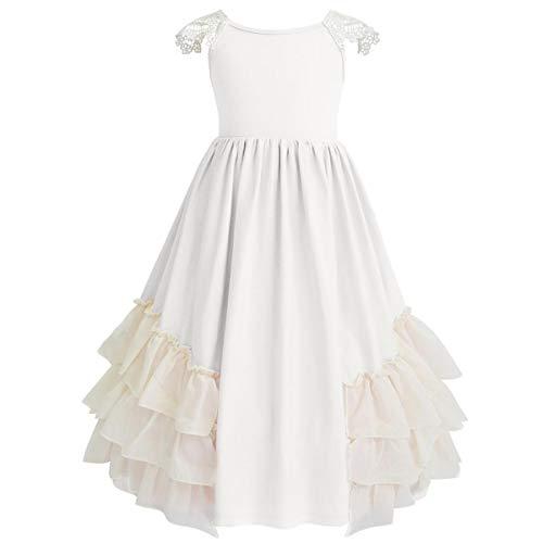Axaxa Flower Girl Maxi Dress Lace Flutter Chiffon Bridesmaid Rustic Bohemian Ruffle 2-11T Ivory]()