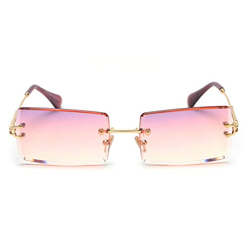 (MINCL/Fashion Small Rectangle Sunglasses Women Ultralight Candy Color Rimless Ocean Sun Glasses (purple&pink))