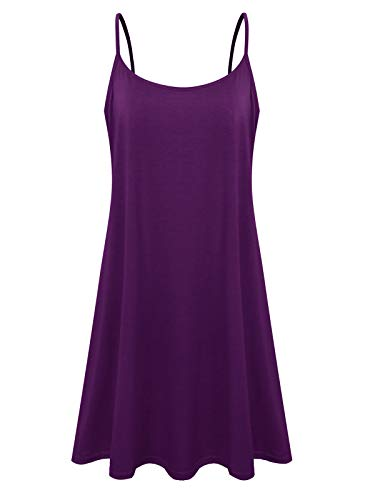 - Plus Size Women's Casual Spaghetti Loose Swing Slip Dress (Purple,1X)