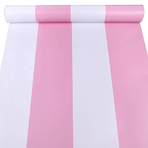 Awning Stripe Wallpaper - Amao Pink Awning Stripe Peel and Stick Wallpaper for Living Room Bedroom TV Backdrop 17.7'x98'' (Pink)