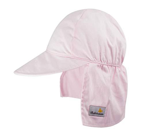 Free 50 Caps - BELLEBEAUTIE Baby Flap Sun hat Chemical Free Breathable Cotton UPF 50+ Sun Protection Kids Hat w/Neck Flap(10 Colors) Pink