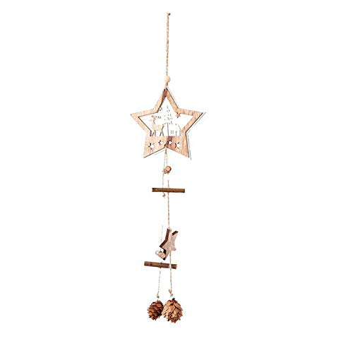 Creative Christmas Wooden Five-Pointed Star Ornaments Hemp Rope Pine Fruit Christmas Tree Decoration Pendant,Star