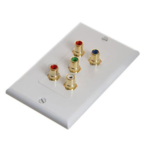Component Video + Audio (RGB + LR) 5 RCA AV Wall Face Plate Gold Plated (Input Digital Switcher Scaler)