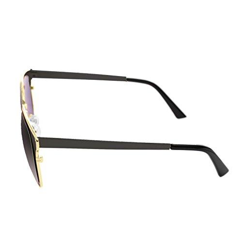 Vintage Grande con Metálica Gafas de Antirreflejos UV400 LooKLooK Mujer para y Ojos y Moda Protección no Montura Sol Fashion Espejo de 100 Negro Lentes con de Diseño Polarizadas Estilo Negro Elegante Tamaño xYOdZwCq
