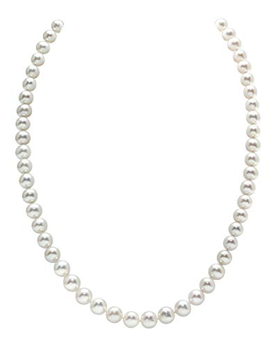 THE PEARL SOURCE 14K Gold 5.0-5.5mm AAAA Quality White Freshwater Cultured Pearl Necklace for Women in 17