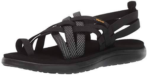 Teva Women's W VOYA Strappy Flip-Flop, Hera Black, 9 Medium US