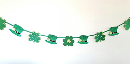 St. Patrick Day Accents Irish Shamrock Glitter Garland Banner ()