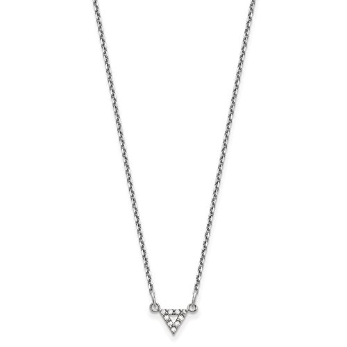 14k White Gold 6mm Triangle Pendant Mounting w/o chain Length Width