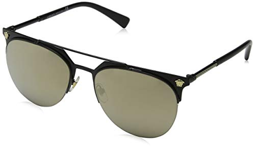 Versace Men's VE2181 Matte Black/Light Brown Mirror Gold One ()