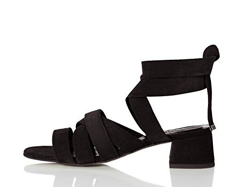 FIND Sandalias de Tiras Atadas al Tobillo para Mujer Negro (Black)