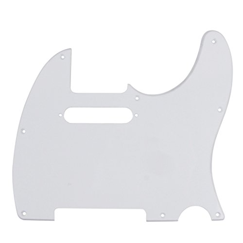 (IKN 1Ply White 8 Hole Tele Pickguard Pick Guard Scratch Plate w/Screws Fit USA/Mexican Fender Standard Telecaster Pickguard Replacement )