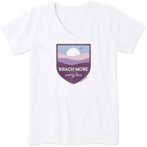 Life is Good Women's Womens Crusher V-Neck T-Shirt, Cloud White, XL
