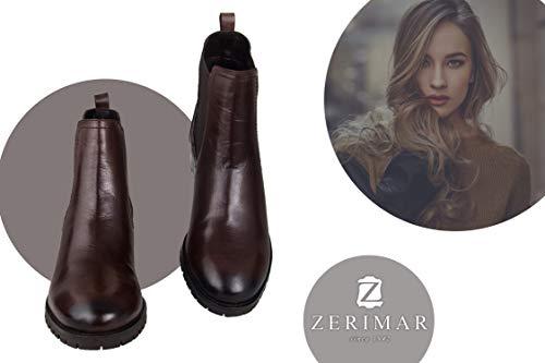Zerimar Piel Vestir Marron Elegantes De Bajos Para Botiones Mujer Botines oscuro rwxI6qr