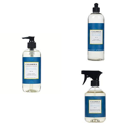 Caldrea Kitchen Set, Basil Blue Sage, 3 ct: Dish Soap (16 fl oz), Hand Soap (10.8 fl oz), Countertop Spray (16 fl oz)