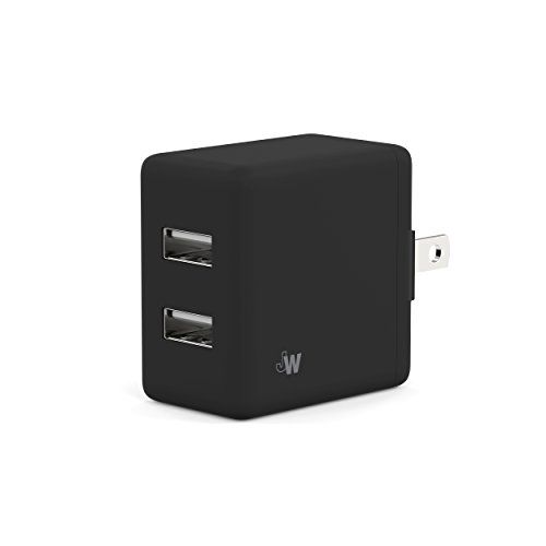 Just Wireless Wall Charger Two Port Dual USB 10W/2.1A to Charge Apple iPhone, iPad, and iPod or Android devices (Samsung Galaxy, LG, Motorola, HTC, Nokia, Blackberry) - Black