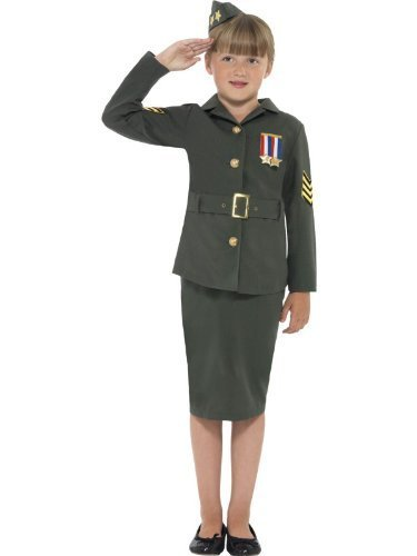 Girls WW2 Costume Army Girl World War 2 WW11 Soldier Fancy Dress Costume 4-12 yr LARGE 10-12 YEARS by Star55 - World War 2 Fancy Dress Costumes
