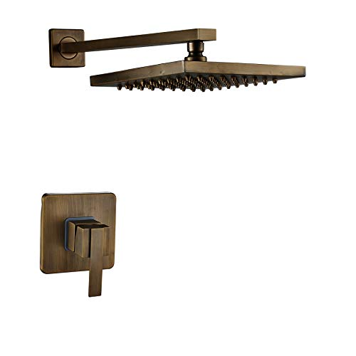 Rozin Antique Brass Wall Mounted 8-inch Rainfall Shower Head + One Way Mixer Valve Control