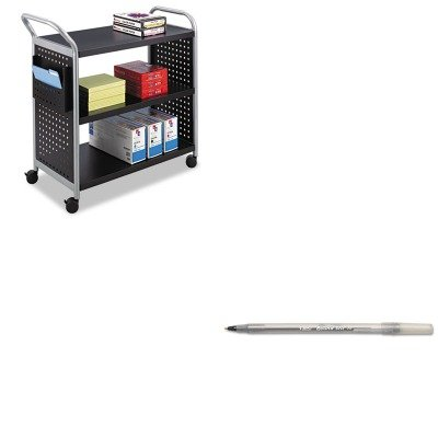 KITBICGSM11BKSAF5339BL - Value Kit - Safco Scoot Three Shelf Utility Cart (SAF5339BL) and BIC Round Stic Ballpoint Stick Pen (Safco 3 Shelf)