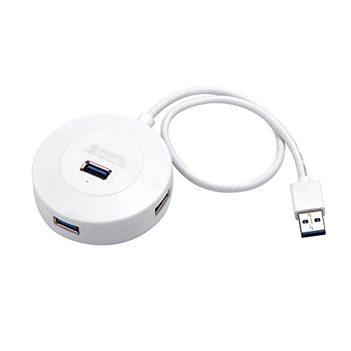 TOOGOO USB Hub 3.0 External 4 Port USB Splitter with for iMac Computer Laptop Accessories Hub USB 3.0(White)