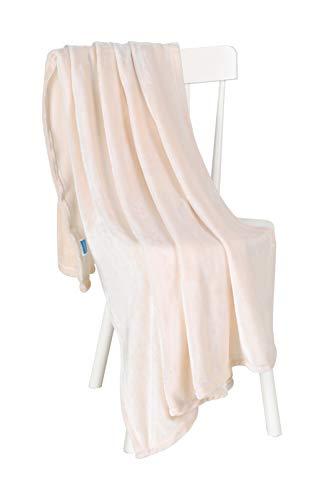 Chiara Rose Super Soft Throw Blanket Flannel Fleece Cozy Plush Velvet Faux Fur Fluffy Lightweight Solid Beige