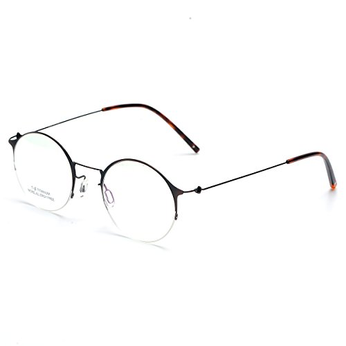 SO SMOOTH WIND B-Titanium Eyeglasses Frame Round Shape Glasses Frame Prescription Eyewear Frame R1102 (Bronze, Demo clear - Shape Face Eyeglass Frames